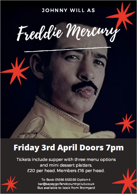 Freddie Mercury Tribute Act Sapey Golf and Country Club